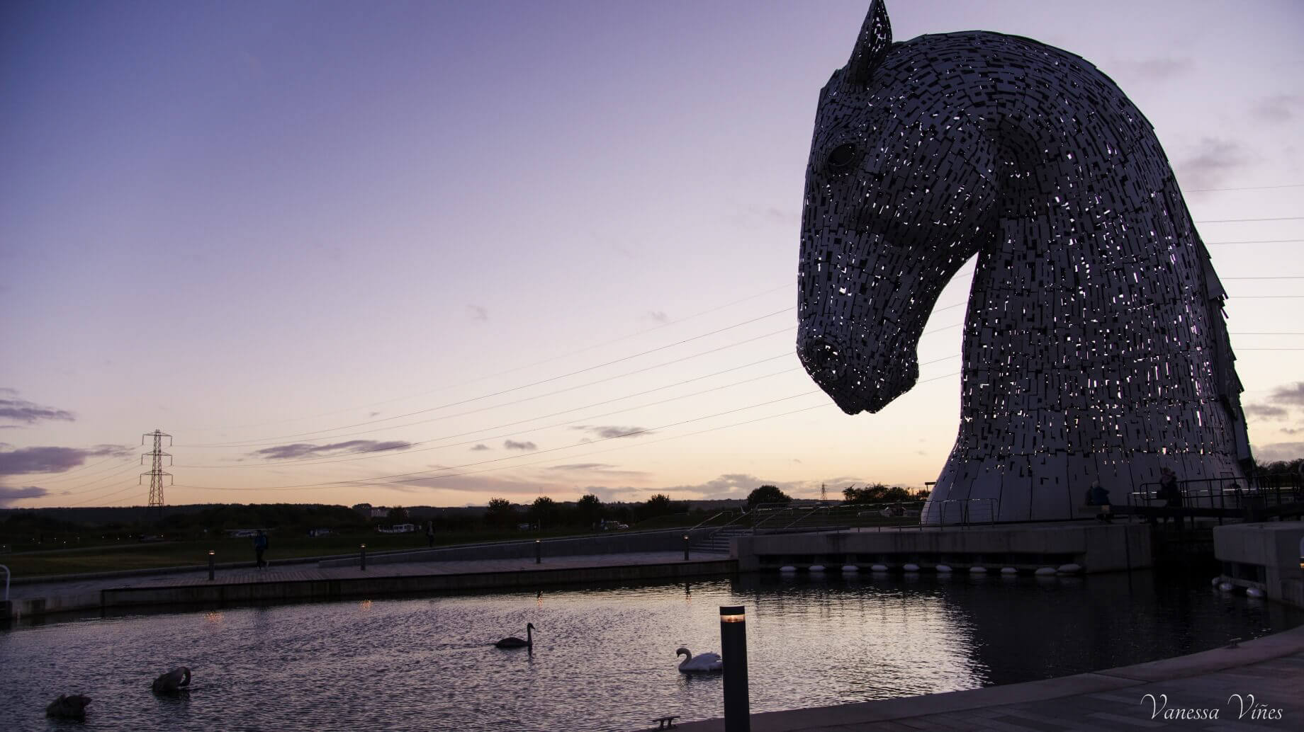 Sunset in the Kelpies