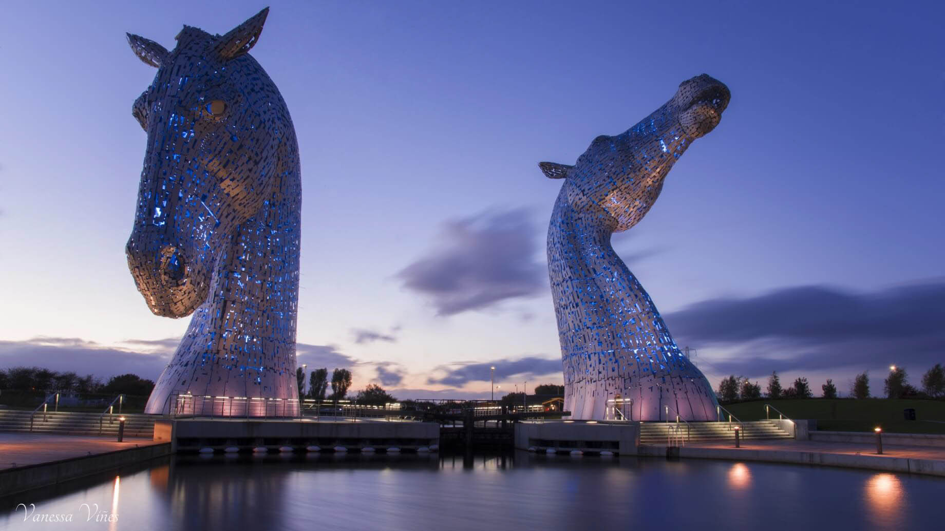 The Kelpies in blue