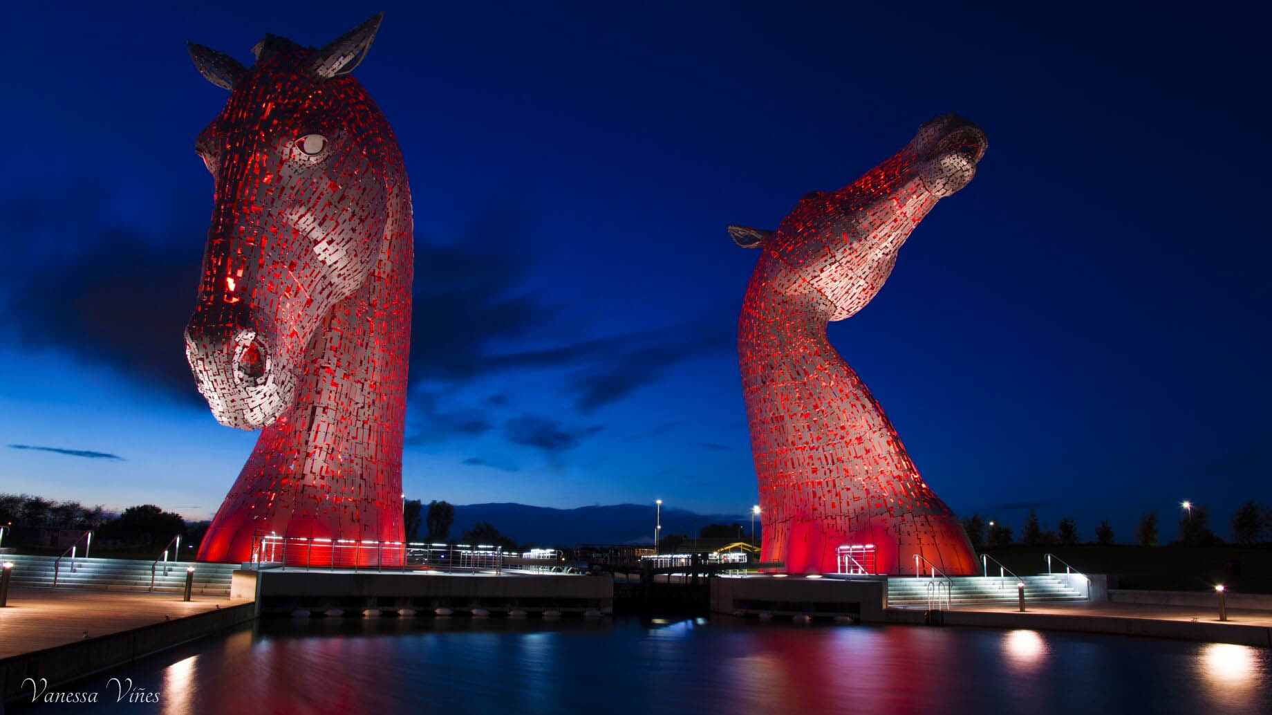 The Kelpies in red