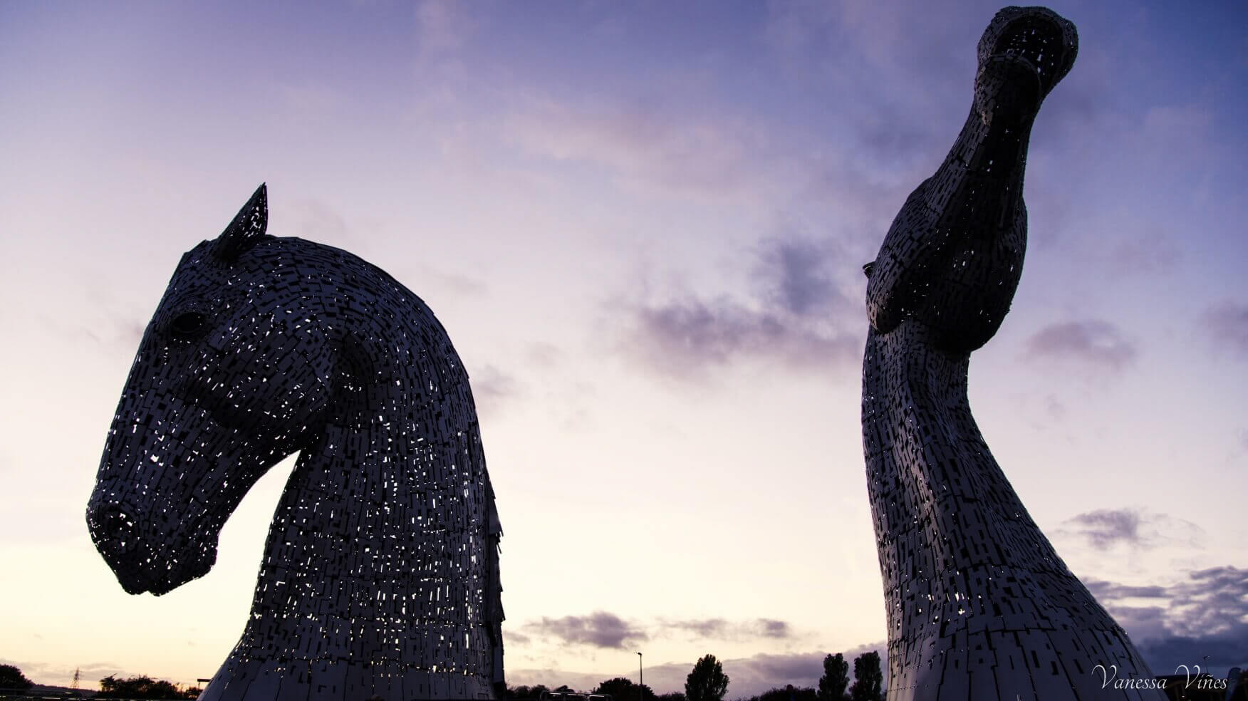 The Kelpies in white