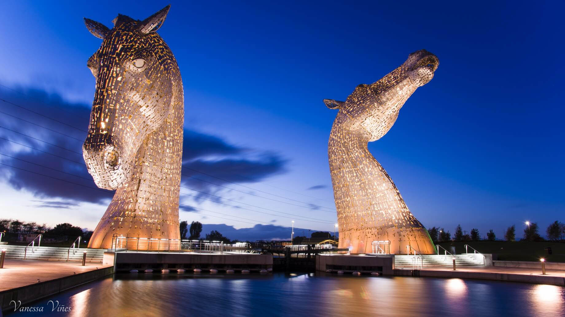 The Kelpies in yellow
